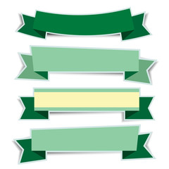 Green ribbon banners sticker with shadow on white background