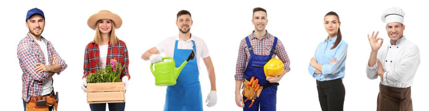 Collage with owners of different small businesses on white background