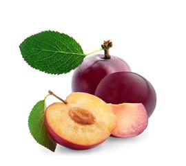 Ripe fresh plum on white background
