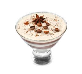 Dessert bowl with tasty panna cotta on white background