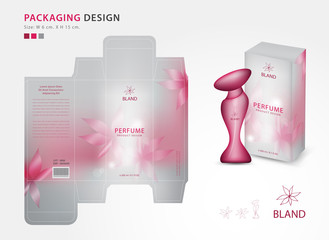 Packaging perfume template,box , product design creative idea template for cosmetics, bottle, pink flower concept, vector illustration
