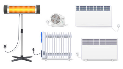 Panel of radiator, electric oil radiator, heater with fan, quartz halogen heater with the glowing lamp. Appliances for space heating in the interior of room. Set icons with plug on white background.