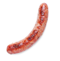 Delicious grilled sausage on white background