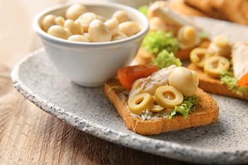 Plate with tasty chicken bruschetta, closeup