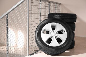 Car tires in automobile service center