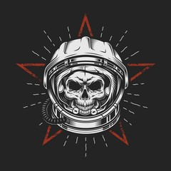 Skull in space helmet