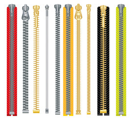 Metal and Plastic Zipper Set Isolated on White Background.