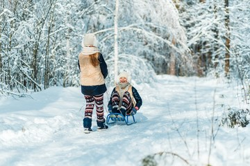Beautiful teenage girls twins sisters riding sledge and having fun outside in a wood with snow in winter on a wonderful frosty sunny day. Friendship, family, togetherness and active life consept