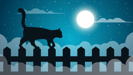 Cartoon paper landscape. Cat illustaton. Vector eps 10
