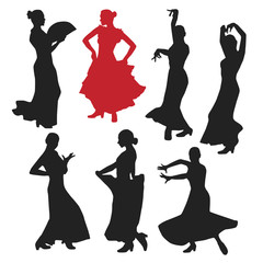 set of women in dress stay in dancing pose. flamenco dancer Spanish regions of Andalusia, Extremadura and Murcia. black silhouette white background brush sketch. Vector