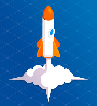 Rocket launch background cartoon. Takeoff phase of the flight, orbital spaceflights in air, business startup symbol. Vector flat style cartoon illustration isolated on and blue background