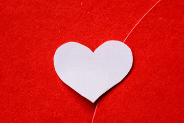 Big red and white heart paper on red paper background. valentines day concept.