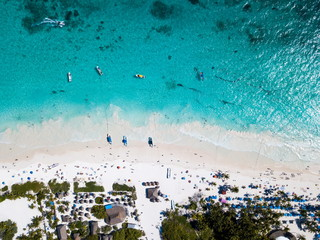 Aerial view of Pescadores beach in Tulum Mexico