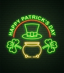 St Patricks Day Neon sign and green brick wall. Realistic sign. National holiday symbol in Ireland. Irish Shamrock. Leprechaun Pot of gold. Template night banner.