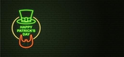 St Patricks Day Neon sign and green brick wall. Irish Beard of Leprechaun and Hat. National holiday symbol in Ireland. Template night banner.