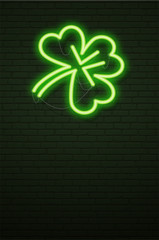 St Patricks Day Neon sign and green brick wall. Realistic sign. National holiday symbol in Ireland. Irish Shamrock. Template night banner.