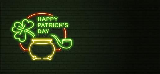 St Patricks Day Neon sign and green brick wall. Realistic sign. National holiday symbol in Ireland. Irish Shamrock. Leprechaun Pot of gold. horizontal Template night banner.