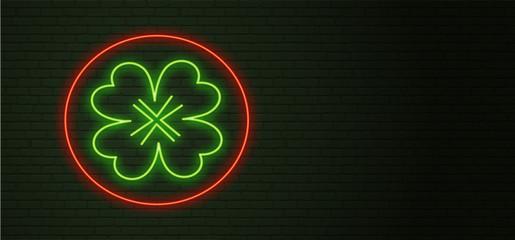 St Patricks Day Neon sign and green brick wall. Realistic sign. National holiday symbol in Ireland. Irish Shamrock. Template night horizontal banner.