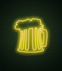 Mug of beer Neon sign and green brick wall. Realistic sign. St Patricks Day National holiday symbol in Ireland. Template night banner.