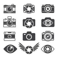Monochrome pictures of symbols for photographers and photo studios