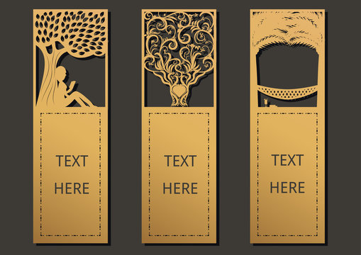 Laser cut with Tree set of ornate cards. Template for greeting card ,motivation tag, small card, bookmark and label with space for your text. Vector illustration design.