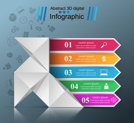 Five paper infographic origami. Dove, bird icon. Vector eps 10