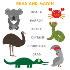 Kids words learning game worksheet read and match. Funny animals koala ostrich parrot crab crocodile snake Educational Game for Preschool Children Picture puzzle. Vector