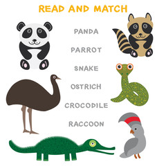 Kids words learning game worksheet read and match. Funny animals ostrich raccoon snake crocodile panda parrot Educational Game for Preschool Children Picture puzzle. Vector