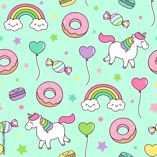 Cute Pastel Desserts And Unicorns Seamless Pattern On Black