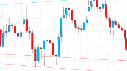 Stock exchange market candlestick chart vector illustration. Blue and red japanese candle bars graph graphic design.