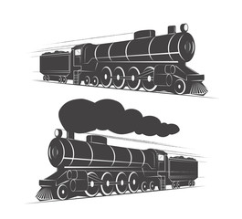 Two vintage retro railroad steam train logos