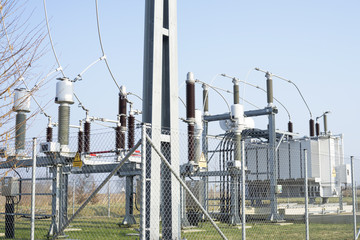 Substation with power lines and insulators