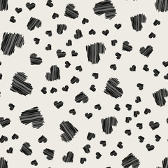 Seamless pattern background. Modern abstract and Classical antique concept. Geometric creative design stylish theme. Illustration vector. Black and white color. Scribble hand drawn heart shape