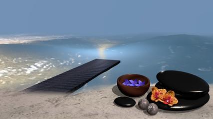 Meer mit Sandstrand von dem ein Steg ins Wasser geht, auf dem eine Schale mit Blüten, ein Steinhaufen aus Bimssteinen, Chinesische Qi Gong-Kugeln und Orchideenblüten. 3d render