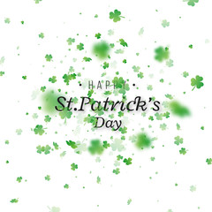 St. Patrick's Day background. Clover leaves with blur effect for greeting holiday design. Vector illustration.