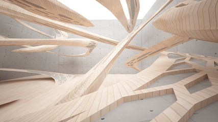 Abstract  concrete and wood parametric interior  with window. 3D illustration and rendering.