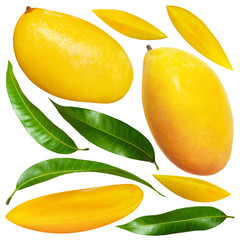 Yellow mango with leaves isolated on white background with clipping mask