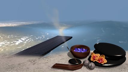 Meer mit Sandstrand . Im Sand steht eine Schale mit Blüten, ein Steinhaufen aus Bimssteinen, Chinesische Qi Gong-Kugeln, ein Räucherstäbchen und Orchideenblüten. 3d render