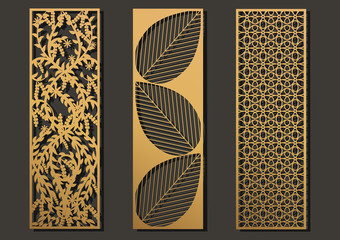 Laser cut template panels set. Die cut geometric pattern rectangle shape for metal , wooden, paper, engraving, stencil, bookmark. Vector illustration design.