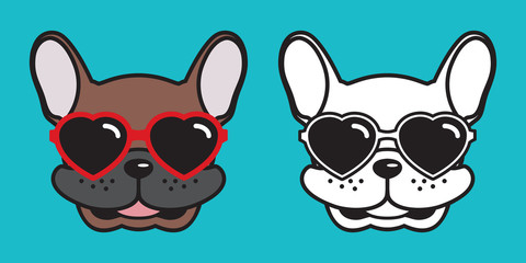 Dog french bulldog vector smile heart sunglasses illustration character cartoon white