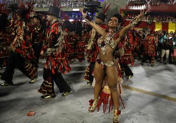 Drum queen Raissa de Oliveira from Beija-Flor samba school performs during the second night of the Carnival parade at the Sambadrome in Rio de Janeiro