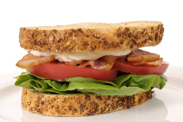 BLT sandwich on white background