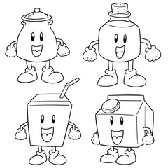 vector set of milk product cartoon