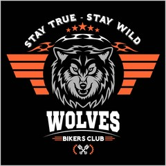 Wolf head for logo, american symbol, simple illustration, sport team emblem, design elements