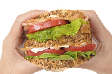 BLT sandwich by holding hands