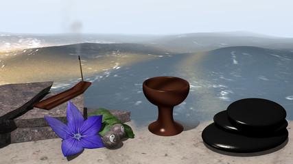 Bruchsteine auf denen ein Räucherstäbchen steht und eine lila Blüte mit Orangenblatt und chinesische Qi Gong-Kugeln liegen davor. Daneben steht ein Kelch und ein Steinhaufen aus Bimssteinen. 3d render