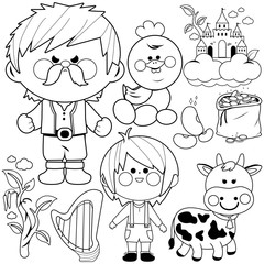 Jack and the magic beanstalk fairy tale vector collection. Black and white coloring book page