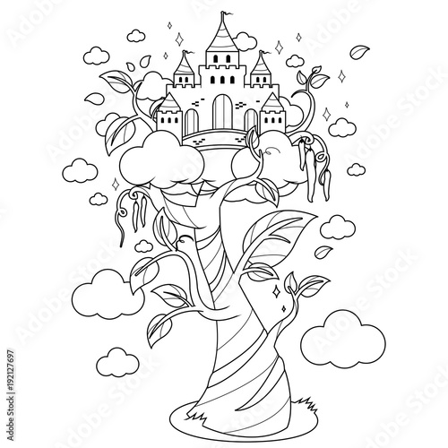 Magic beanstalk and castle. Black and white coloring book page ...