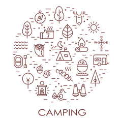 Outline illustration of  vector icons for web. Symbols of camping, outdoor activity, campgear and equipment for tourism. Travel.Camping line set.