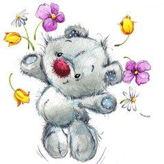 Cute teddy bear. watercolor illustration for greeting card.